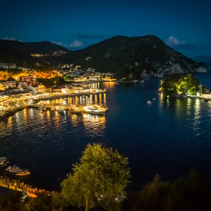 The Harbor Of Beautiful Parga Town By Night In Greece,Epirus Region